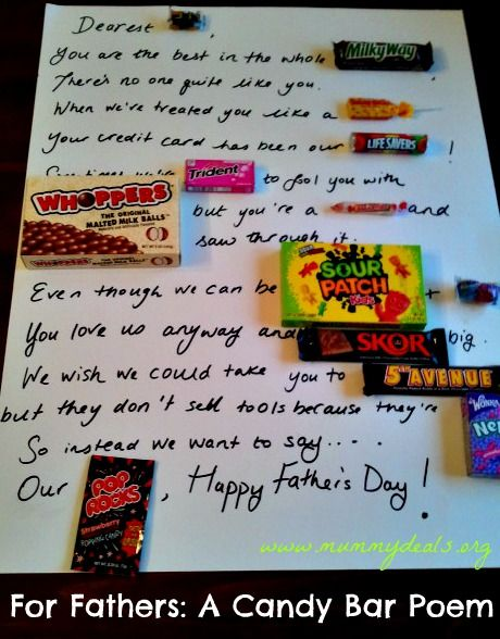Candy Bar Poster Board For Dad Best Candy 2018