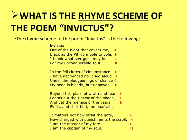 personal reaction on the poem invictus Invictus theme/ intention in william ernest henley's poem invictus, the use of strong and descriptive language and extravagant metaphors help clearly convey the theme of the poem which is to never lose hope no matter the circumstance, and how you control your fate and decide your future.